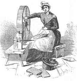 Hand  Spinning using Large Wheel